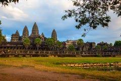 Angor Wat, arquitetura antiga em Camboja fotografia de stock