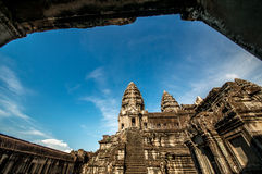 Angor Wat in a blue sky background Stock Photos