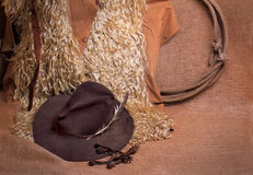 Angora chaps, hat, lariat and spurs. Old fashioned angora woolly cowboy chaps, old worn hat with mangled feather, a rolled lariat and rusty spurs against burlap Royalty Free Stock Images