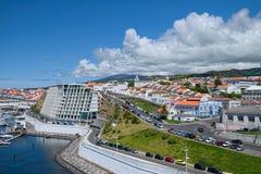 Angra看法做Heroismo, Terceira,亚速尔群岛 免版税图库摄影