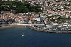 Angra葡萄牙亚速尔群岛Terceira全景做Heroismo 免版税库存照片