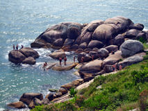 Angra da rocha da praia de Florianopolis Imagem de Stock Royalty Free