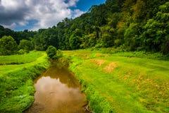 Angra e campo em Carroll County rural, Maryland Fotografia de Stock