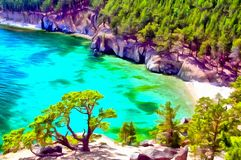 Angra quieta em um lago mountain, penhascos íngremes na costa ilustração stock
