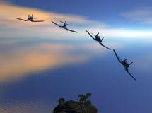 Angreifende Flugzeuge ziehen weg ab Lizenzfreie Stockfotos