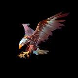 Angreifender Vogeladler auf einem schwarzen Hintergrund lizenzfreie abbildung