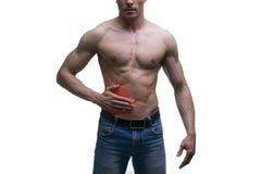Angriff der Blinddarmentzündung, Schmerz in der rechten Seite des muskulösen männlichen Körpers, lokalisiert auf weißem Hintergru Lizenzfreies Stockbild