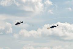 Angriff von Hubschraubern MI-24 durch Maschinengewehre Stockbild