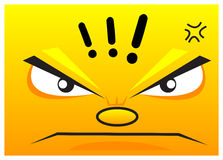 Angry. Illustration of angry cartoon face show in wallpaper Royalty Free Stock Photos