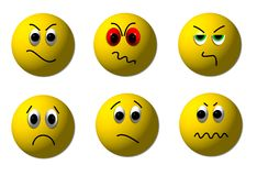 Angry 3D Smileys. Illustration of a set of 3D smileys Royalty Free Stock Images