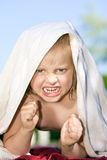 Angry. Child shaking with fists Royalty Free Stock Photos