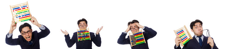 The angry accountant with abacus isolated on white Stock Photos