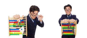 The angry accountant with abacus isolated on white Stock Image