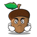 Angry acorn cartoon character style Royalty Free Stock Image