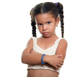Angry african american small girl isolated on white Stock Images