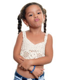 Angry african american small girl isolated on white. Angry african american small girl isolated on a white background Stock Photos