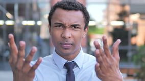 Angry African Businessman Yelling Outdoor. 4k high quality, 4k high quality stock footage