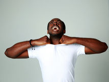 Angry african man screaming Stock Photography