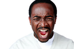Angry african man screaming Royalty Free Stock Photo