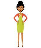 Angry African young woman. Angry South African or African American woman teacher. Unhappy woman.Vector - isolated. royalty free stock photos