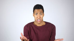 Angry Afro-American Man Yelling and Complaining, Reacting to Failure and Loss Royalty Free Stock Photography