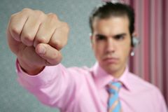 Angry aggresive businessman with fist closeup Royalty Free Stock Photo