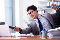 The angry aggressive businessman in the office Royalty Free Stock Images