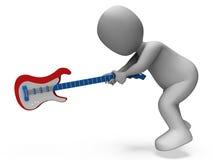 Angry Aggressive Guitarist Smashing Guitar. Showing Rocker Rock Music Stock Images