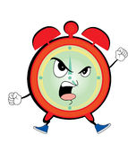 Angry alarm clock cartoon Royalty Free Stock Photo