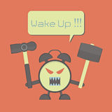 Angry alarm clock Royalty Free Stock Image