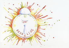 Angry alarm clock showing dead line.  royalty free illustration