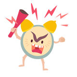 Angry alarm clock. Wake up, deadline concept. Alarm clock vector illustration. Alarm clock icon Royalty Free Stock Images