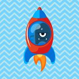 Angry alien in rocket. Cartoon vector illustration. Ufo. Space theme. Monster in space ship Stock Images
