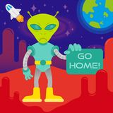 Angry alien say go home. Angry in space suit alien astronaut show text go home from mars or another galaxy planet anti colonization mission first contact UFO On Stock Images