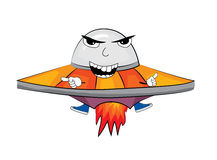 Angry alien ship cartoon Royalty Free Stock Photos