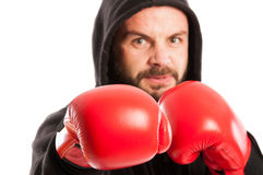 Angry amateur boxer Royalty Free Stock Images