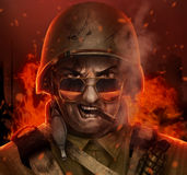 Angry american soldier war face illustration. Illustration angry american airborne soldier face with glasses, cigar and helmet  & burning city behind him Royalty Free Stock Images