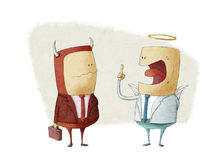 Angry angel businessman shouting a demon businessman Royalty Free Stock Photos