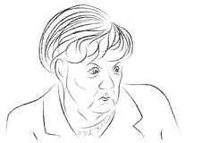 Angry Angela Merkel sketch Stock Photography