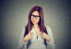 Angry annoyed woman asking you talking to me? Royalty Free Stock Photography