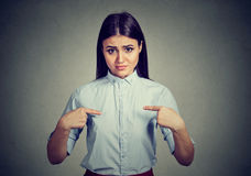 Angry annoyed woman asking you talking to me, you mean me? Royalty Free Stock Images