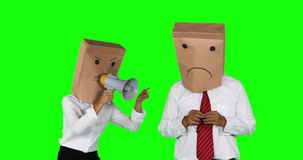 Angry anonymous businesswoman scolding with megaphone stock video