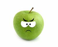 Angry apple. Over white background Stock Photos