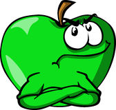 Angry apple with folded arms Stock Image