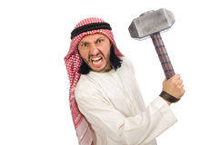 Angry arab man with hammer isolated on white Royalty Free Stock Photos
