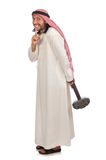Angry arab man with hammer isolated on white Stock Images