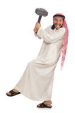 Angry arab man with hammer isolated on white Royalty Free Stock Photography