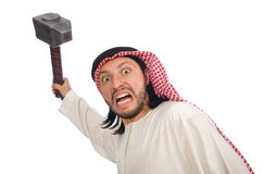 Angry arab man with hammer isolated on white Stock Photography