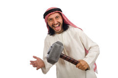 The angry arab man with hammer isolated on white Royalty Free Stock Images
