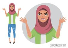 The evil muslim womenn character threatens with his hand. Muslim young woman wearing hijab. Angry arabian women. Negative Emotions. Bad Days. Bad Mood Stressful Royalty Free Stock Photos